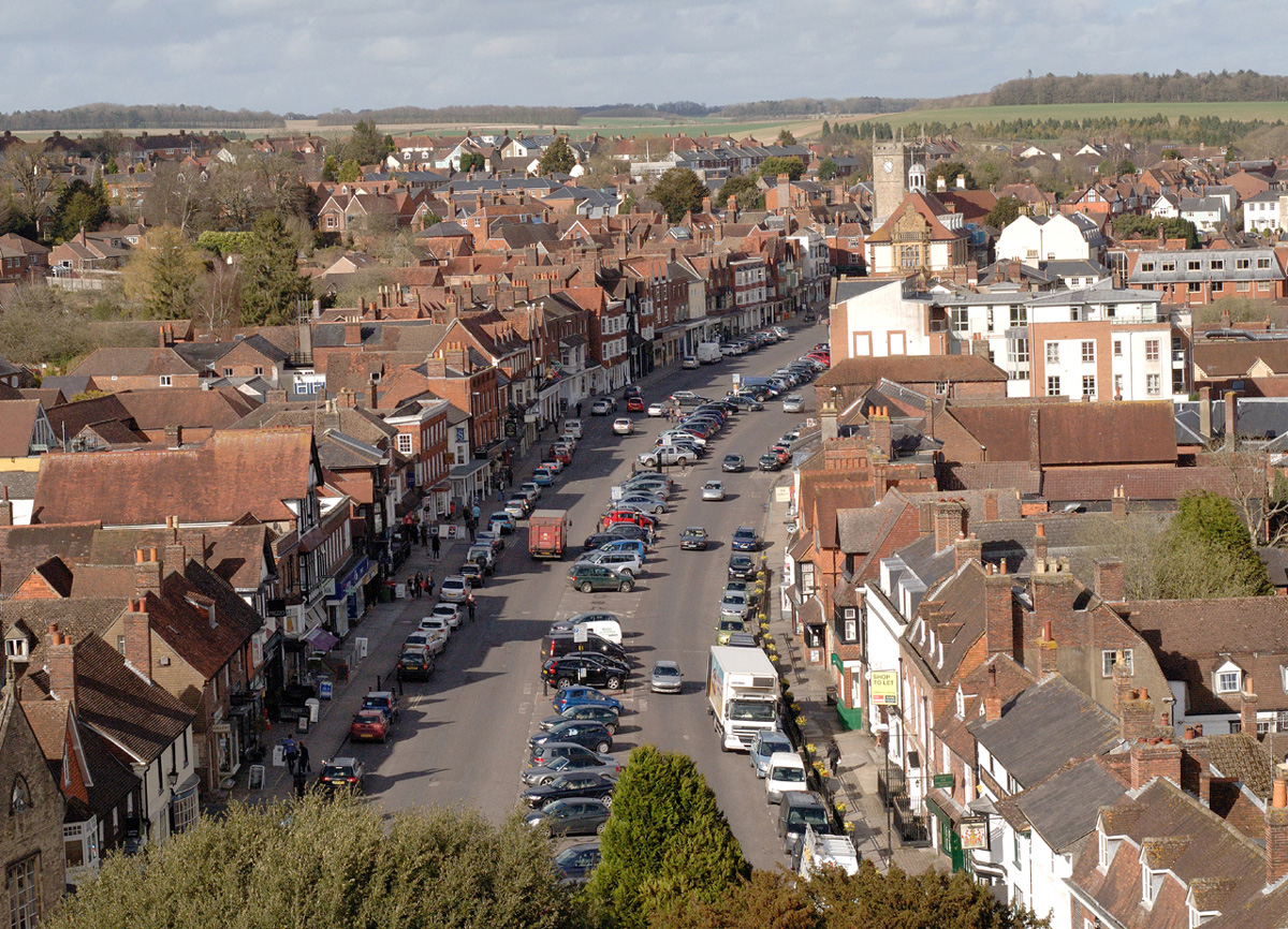 Marlborough High Street from the top of St Peter's Church tower
