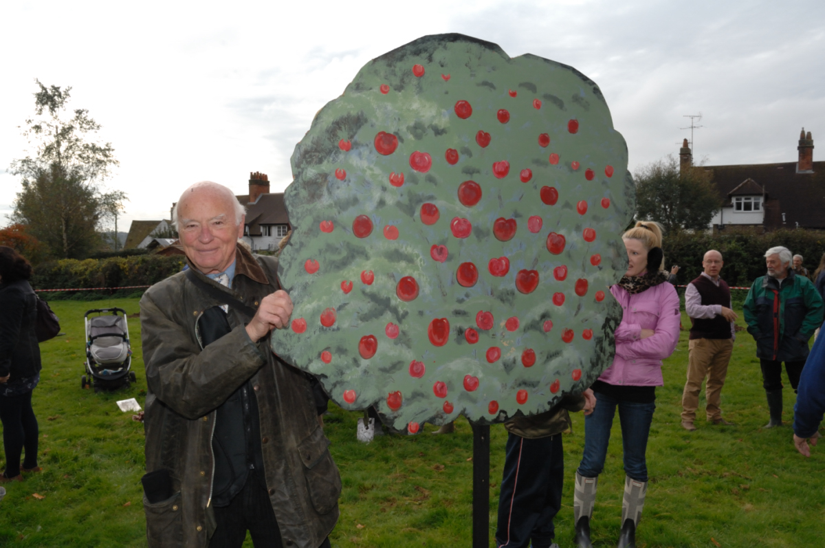 Marlborough Community Orchard's apple tree banner was carried by Richard Shaw (pictured) and Maurizio Madonnini