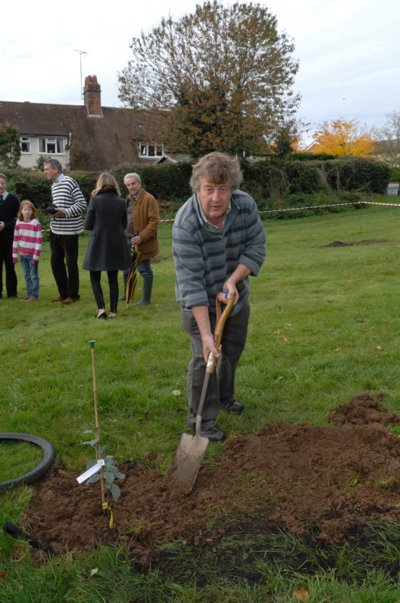 Robert Tindall planting a Wiltshire Monster for Marlborough College