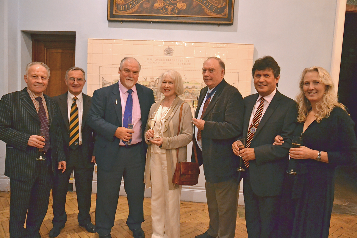 Colin Brown, who rode Desert Orchid to 17 wins, councillor Andy Ross, Mike Gatting, mayor Edwina Fogg and consort councillor Nick Fogg, Sport Forum committee member councillor Guy Loosmore and partner Fiona Lawson