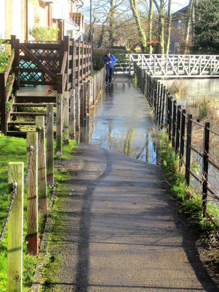 Path to Town Mill flooded