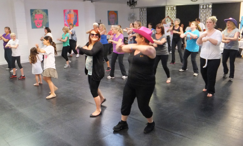 Zumba dancers try out the new Movida Studio on opening night