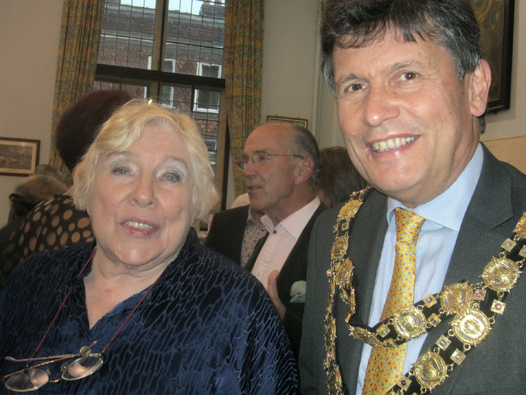 Fay Weldon with the Mayor, Councillor Guy Loosmore