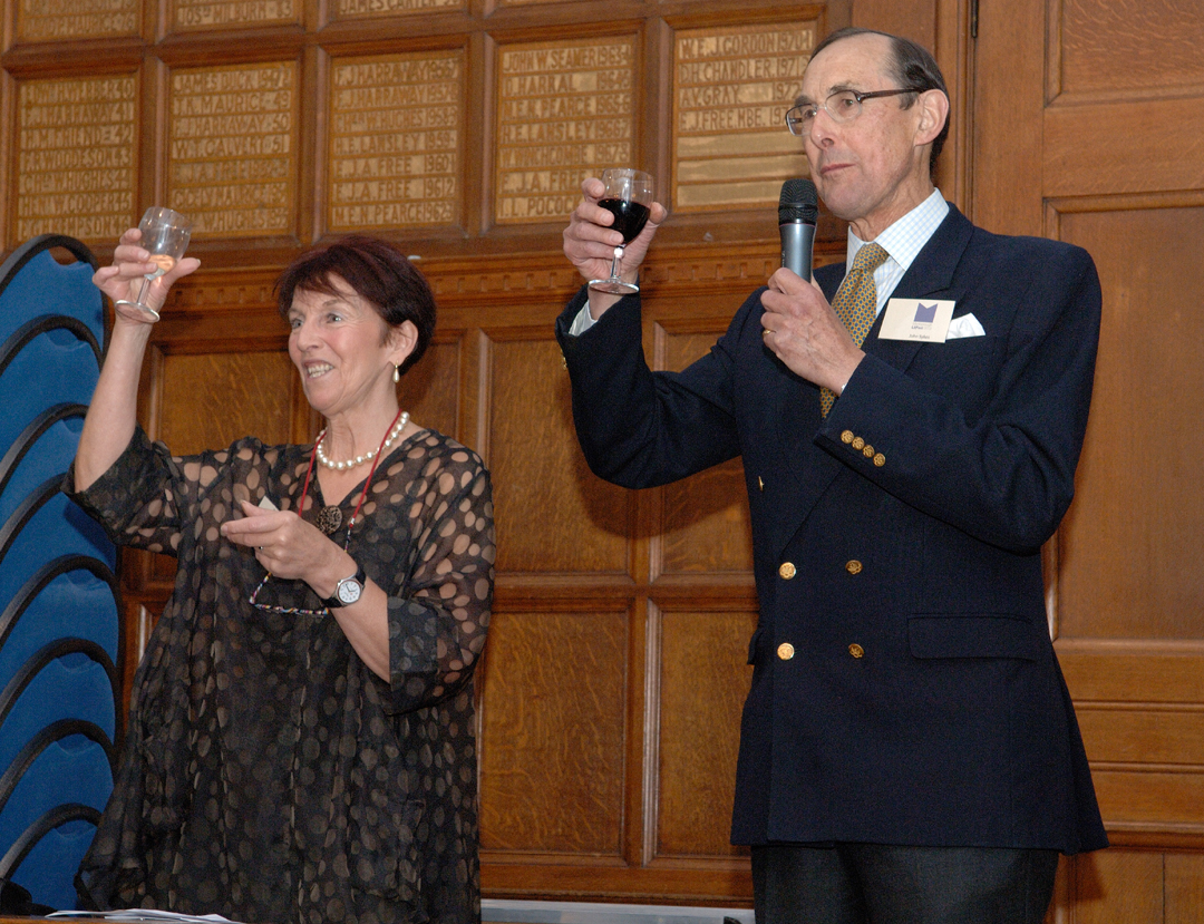 Mavis Cheek and Sir John Sykes raise a glass to the success of this year's LitFest