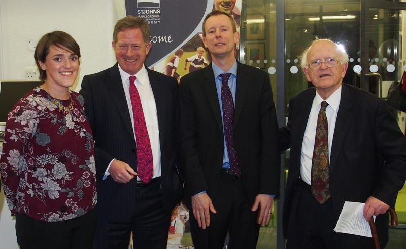 L to R: Lilli Loveday, Dr Patrick Hazlewood (Headteacher, St John's), David Mepham and Lord Judd