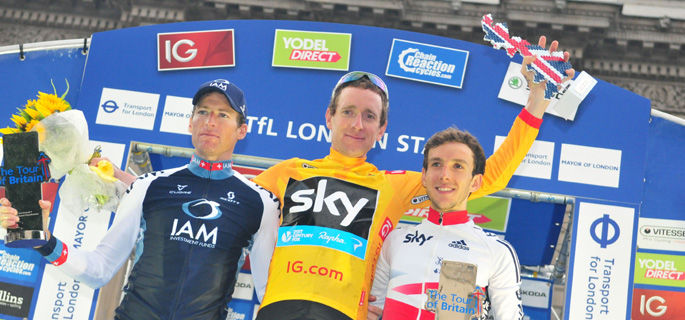 The 2013 Tour of Britain winner Sir Bradley Wiggins on the London podium