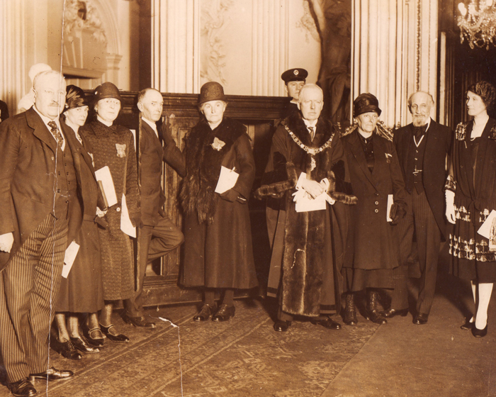 The Mansion House, 1927: (l ro r) Lord Burnham, Mme Cardon, Angele Lesur, Fowler, Mme Belmont-Gobert, Lord Mayor, Mme Baudhuin, French Amassador, Lady Mayoress