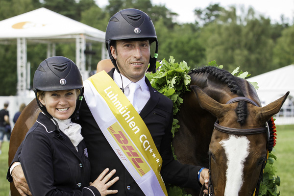 Jonelle with Tim & Wesko after their Luhmuhlen victory (photo copyright Libby Law Photography)