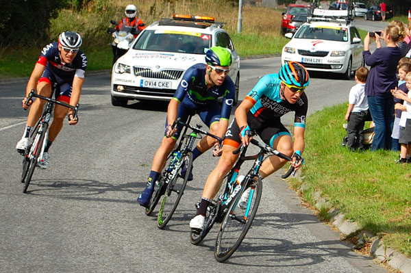 From left, the breakaway group: Matthias Brandle (AUT) IAM Cycling, Alex Dowsett (GB) Moviestar, and Tom Stewart (GB) Maddison Genesis at Burbage