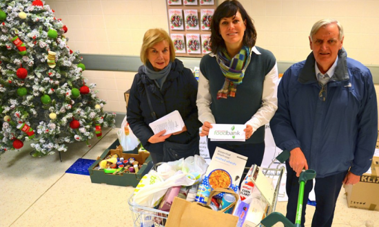 Hazel Jennings and Christopher Sloane of Devizes Food Bank with Claire Perry MP centre collecting at Waitrose in December 2012