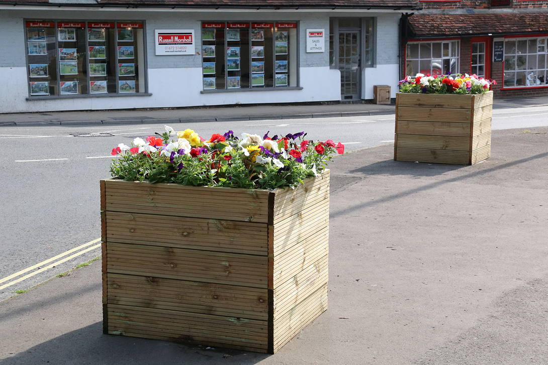New planters outside St Peters School
