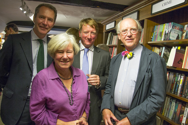 Festival chairman Jan Williamson with sponsors Stephen Depla and Myles Palmer of Brewin Dolphin and jeweller Peter Page