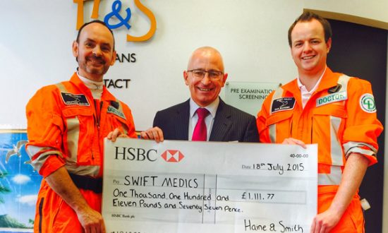 Jonathan Glover and Dan Bawden receive the cheque from Malcolm Lee manager at Haine Smiths Marlborough branch