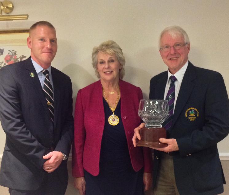 L to r: Paul Clemerson (of 4MI Battalion - Mayor's Team Captain) the Town Mayor & Alan Pryor (Captain, Marlborough Golf Club) with the trophy