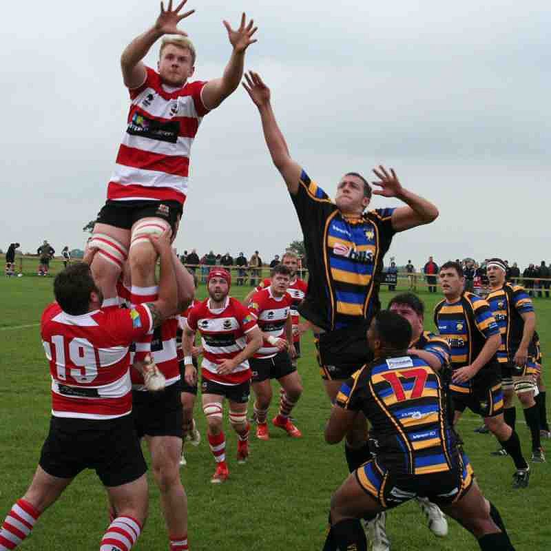 Club captain, Jamie Pittams, challenges for lineout ball