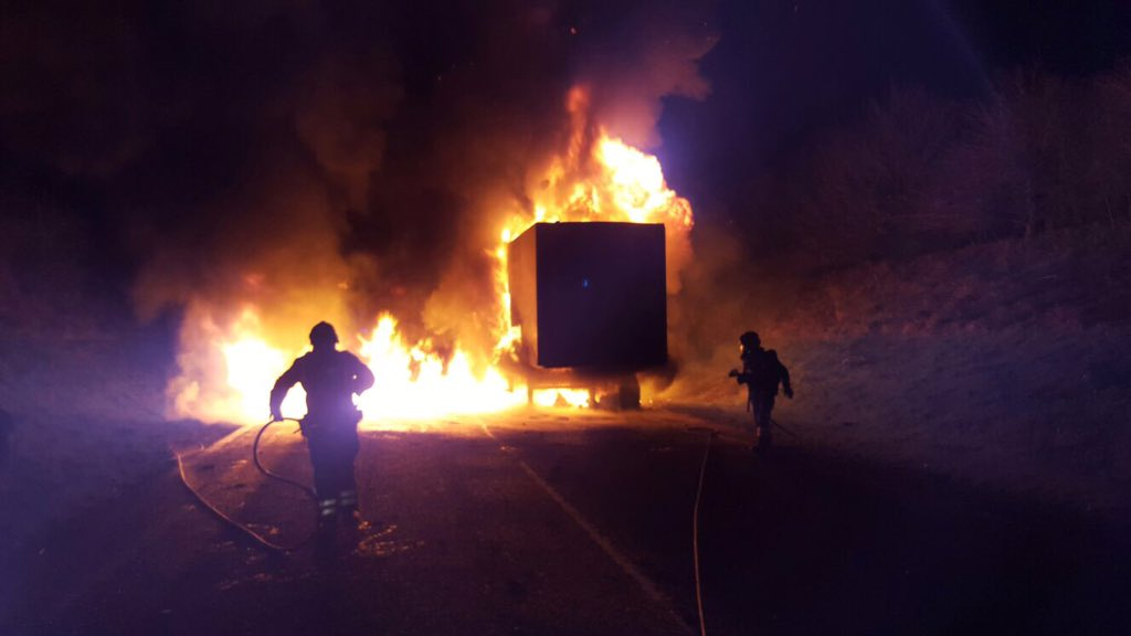 Burbage Bypass lorry fire - picture by Marlborough Fire Station