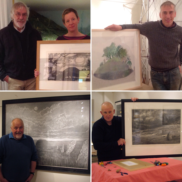 Top row:  Left - David Inshaw with the curator and his Silbury Sunrise. Right - Ray Ward with one of his views of the Marlborough Mound.  Bottom row: Left - David Gunning. Right - Robert Pountney with his charcoal drawing of Avebury. [Photo courtesy Wiltshire Museum]