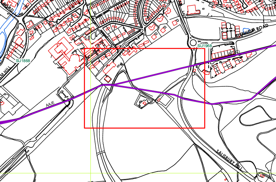 The pipeline is marked in purple - to the right it runs through the business park - beneath the road