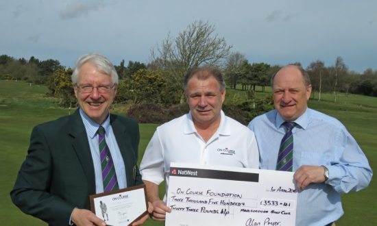 L to r: Alan Pryor, Brian Rollinson (OCF Ambassador) and Les Trute (the Club's General Manager)