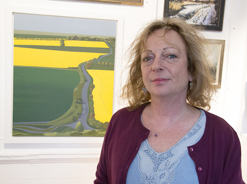 Simone Dawood with Hackpen Rape. Her abstract landscapes are inspired by dog walks along the Ridgeway