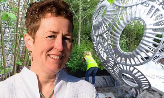 Rosy Hardy with her Chelsea Flower Show garden