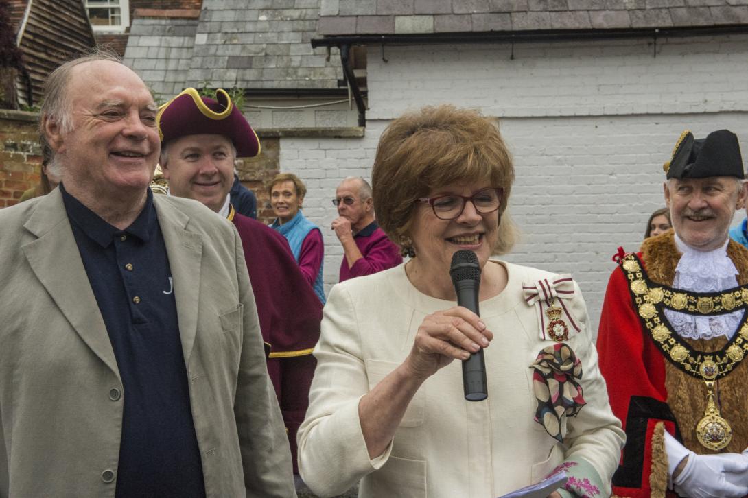 Wiltshire's Lord Lieutenant, Mrs Sarah Troughton declares the Jazz Festival open