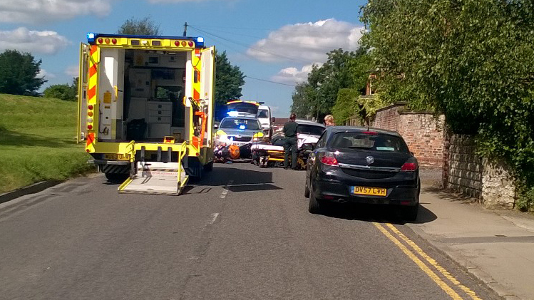 The Common earlier this afternoon, the scene of the Road Traffic Collision between a car and a motorcycle