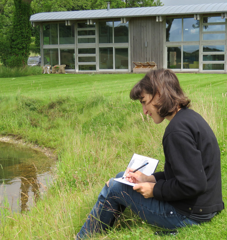 Katherine Jones sketching at the Rabley Drawing Centre