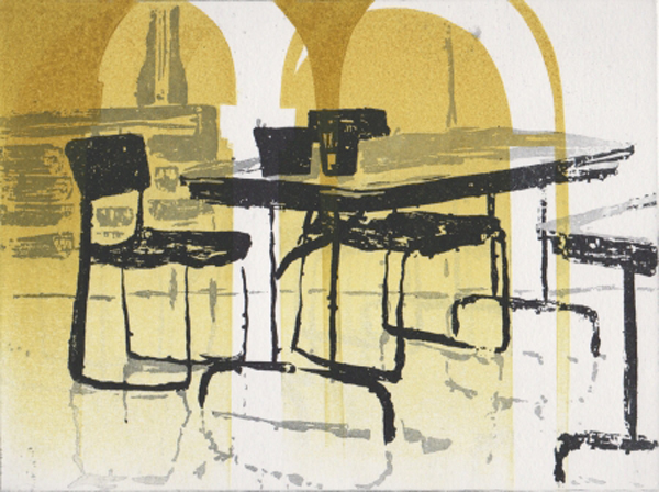 From Katherine Jones' Eton Portfolio: 'Drawing Schools' (Sugarlift aquatint etching)