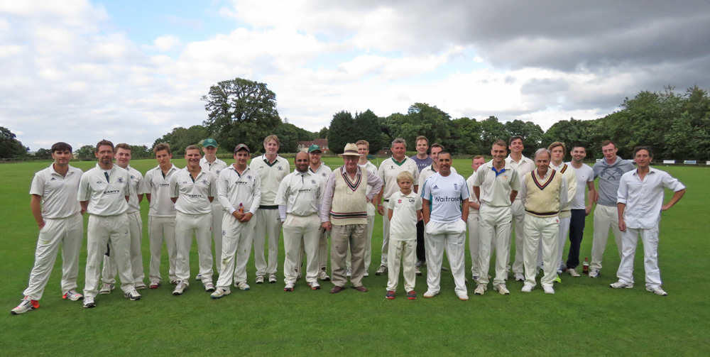 The assembled players - Marlborough Cricket Club to the left and the large contingent of the Mayor's team to the right