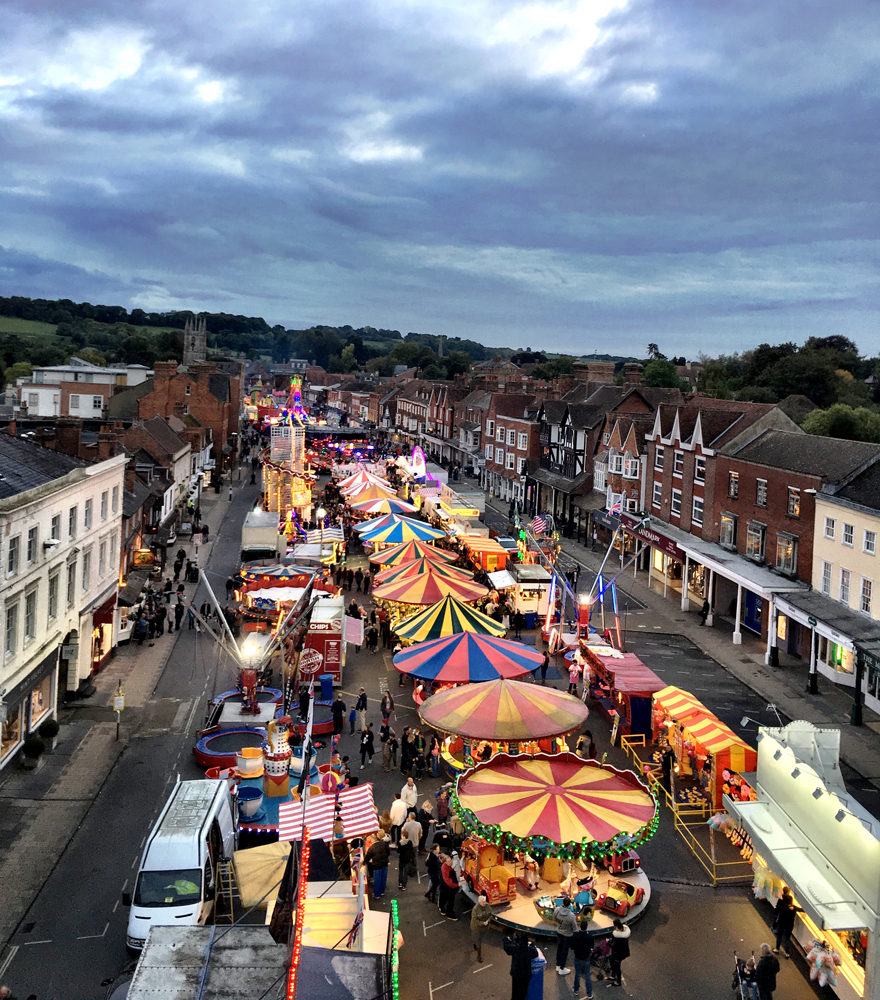 Saturday, October 8: Little Mop Fair - viewed from the top of the Ferris wheel - photo by Marlborough resident Peter Greenbank - our thanks to him [click to enlarge]