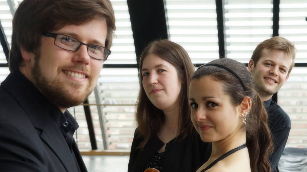 The Castalian Quartet - l to r: Daniel Roberts, Sini Simonen, Charlotte Booneton, Christopher Graves