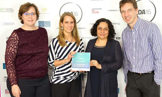 Jo Waltham and web designer Leanne Stevenson with Nazima Pathan and Pierre Corne of Cambridge Food Collective