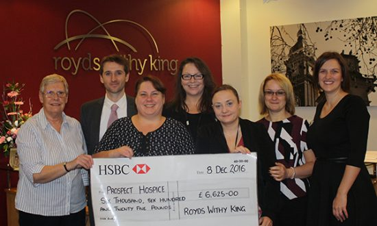 Barbara Price, Tom Britten, Julie Robertson, Trish Watkins, Lisa Delahunty and Vicky Reynolds of Royds Withy King with Mela Durston from Prospect Hospice