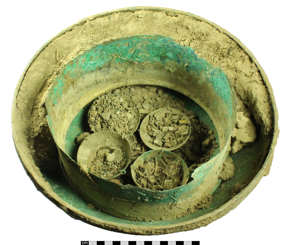 Cauldron showing scale pans [Photo copyright Portable Antiquities Scheme]