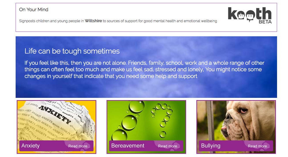 In development: part of the home page of the new On Your Mind website