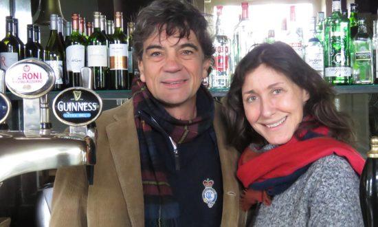 Pietro & Barbara behind The Barge's bar