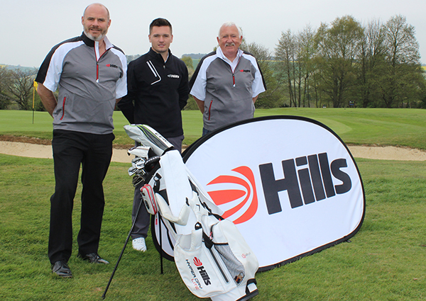 Ben Amor (centre) celebrates his sponsorship deal with The Hills Group chief executive Mike Hill (left) and chairman Alan Pardoe (right)