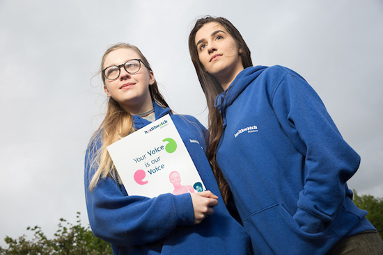 Zoe Tonks & Elley-May Timmins with the Young Listeners report - ready to present it to the Wiltshire Health & Wellbeing Board (Photos: Tim Gander)