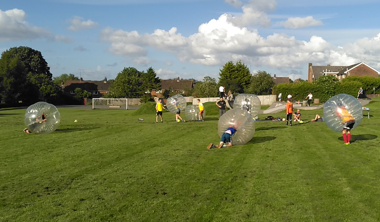 Not a Martian in sight - just the MYFC U13s Zorbing.....
