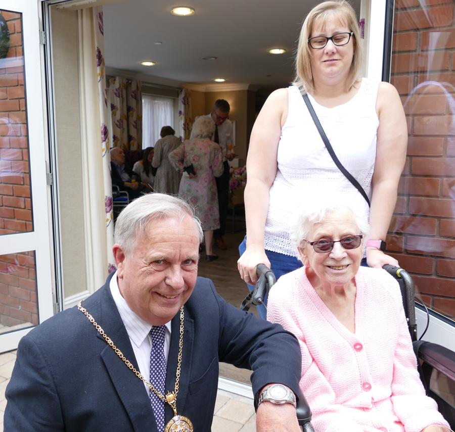 Marlborough Mayor Mervyn Hall with resident Irene Sims and her grand-daughter, Jo Lee