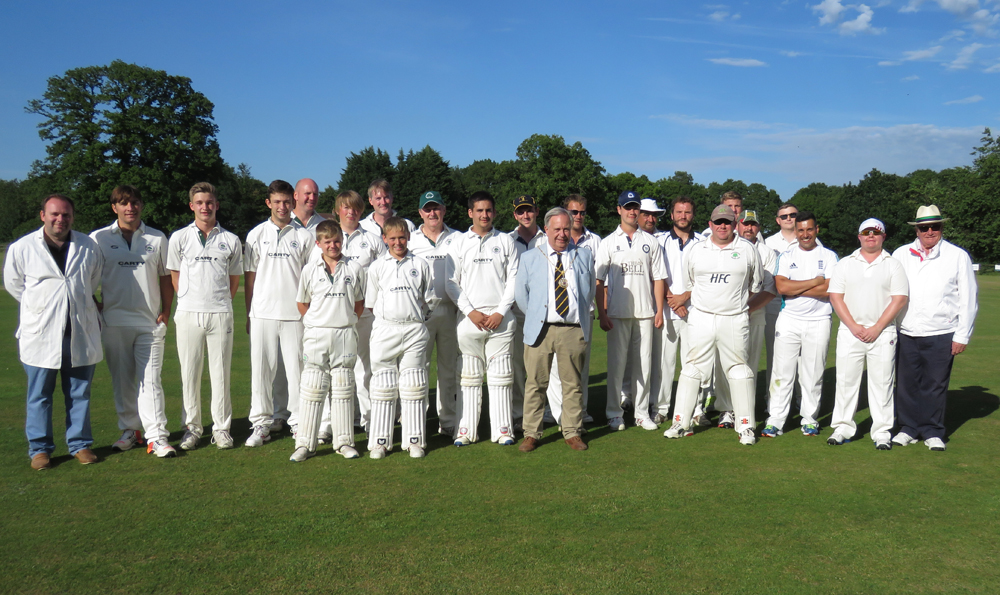 Two teams - with two umpires - and Marlborough Town Mayor Councillor Mervyn Hall