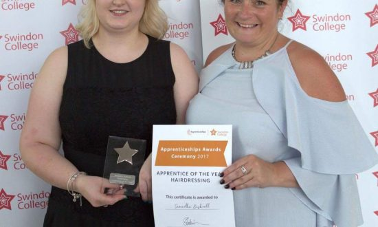 Swindon College Apprentice of the Year, Sam Bushnell, with Segais owner, Charlotte Woodley