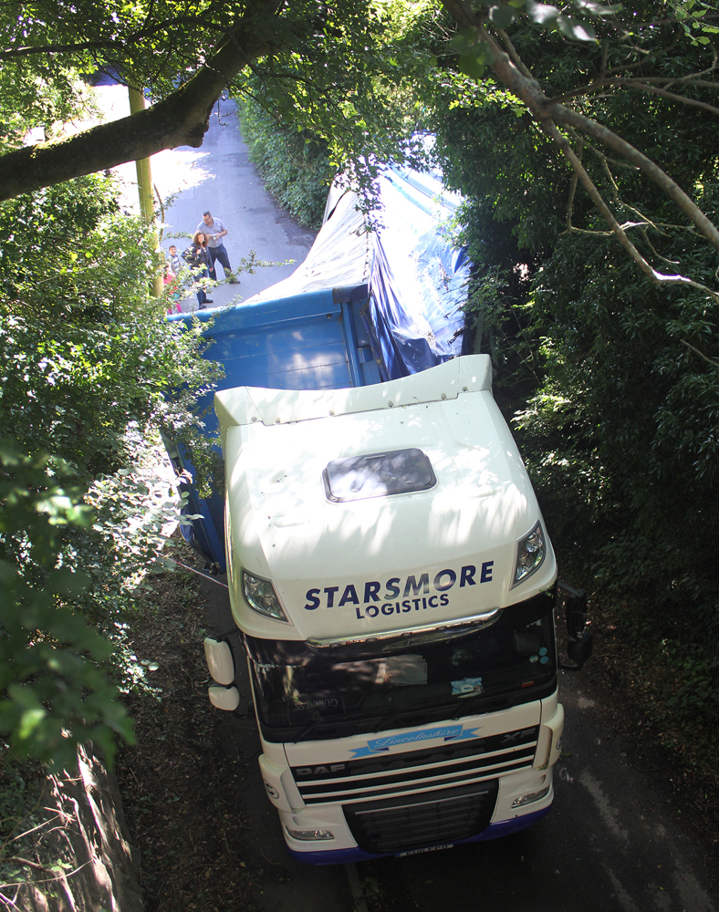 The view from the bridge - showing how the trailer tipped over