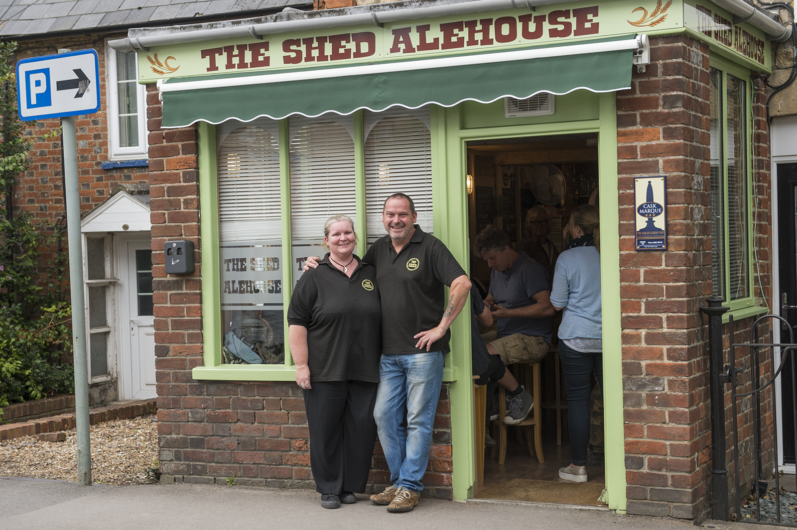 Brewer and Landlord, Gordon Edwards with wife Sam outside The Shed Alehouse
