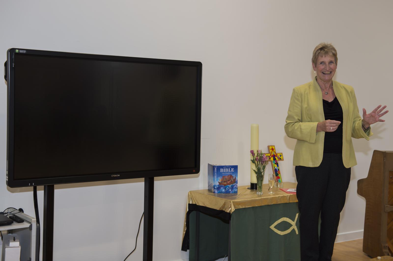 Head Teacher Anne Schwodler addresses the reception