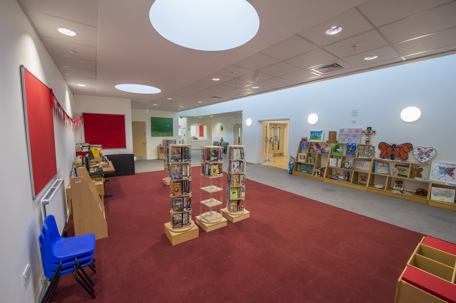 The Library with reception area beyond in the new Marlborough St Mary's School