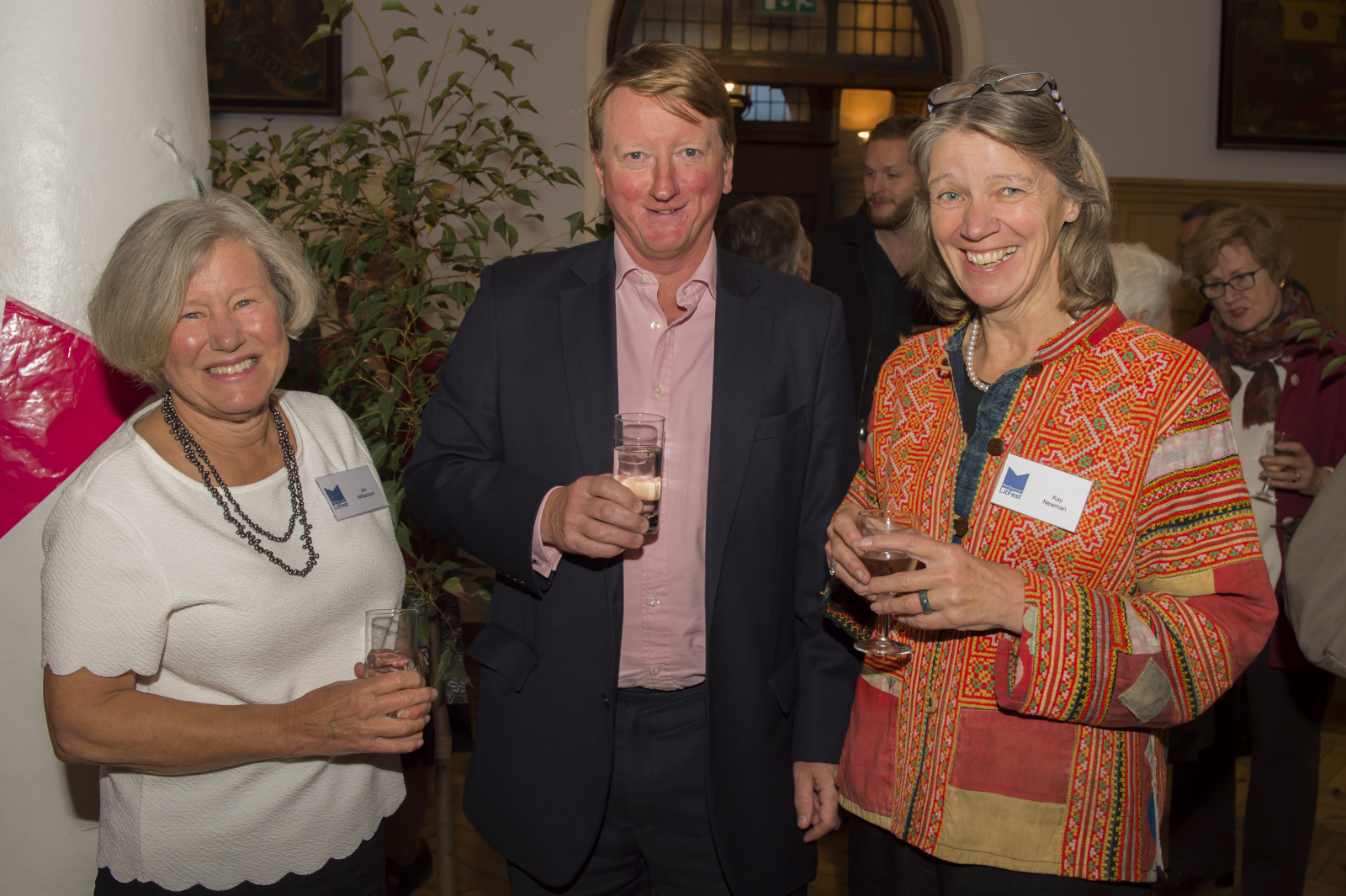 LitFest Chair, Jan Williamson with Sponsor Myles Palmer of Brewin Dolphin and Kay Newman of LitFest