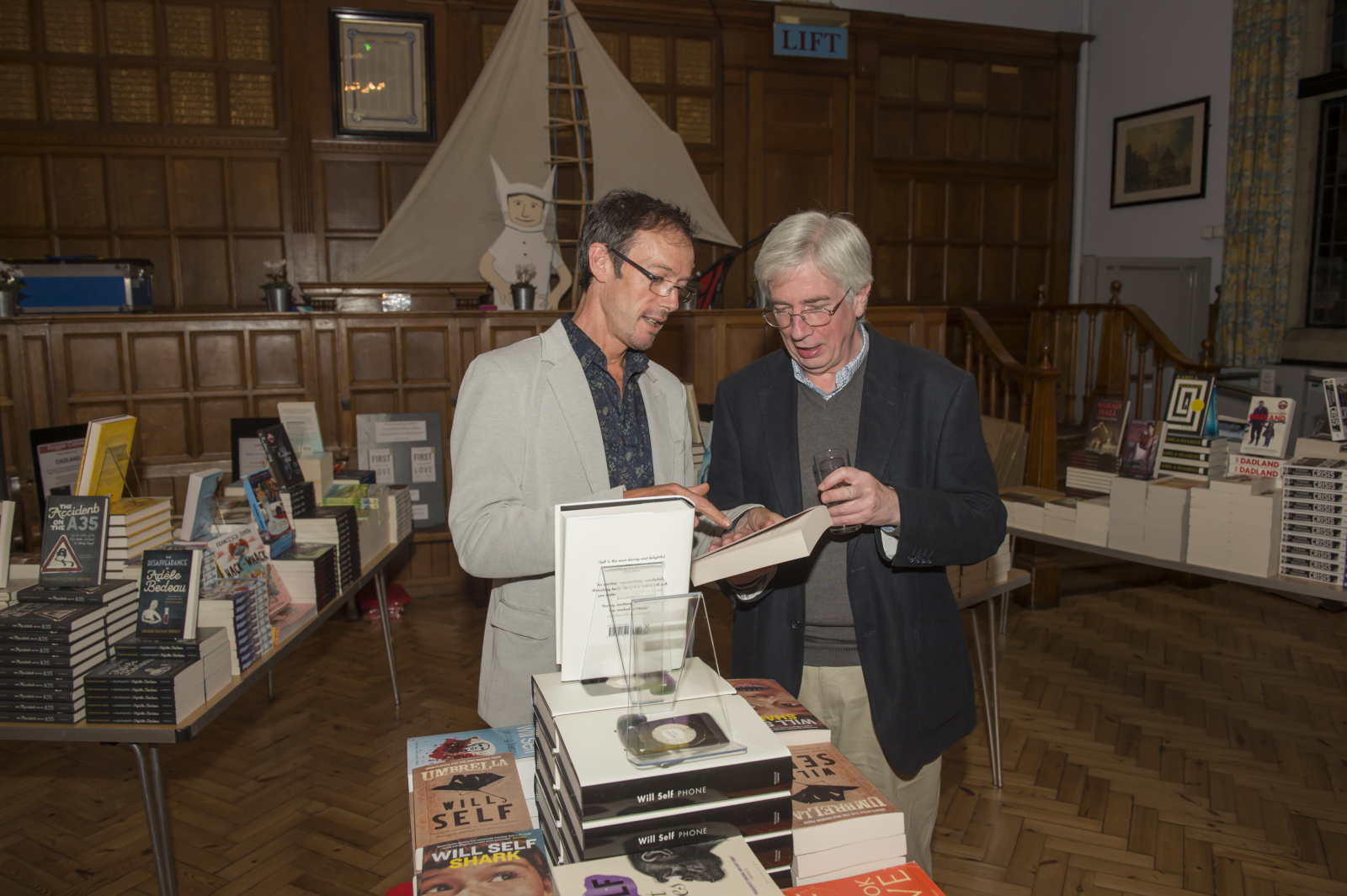 Angus MacLennan of The White Horse Bookshop with Chris Gange of Katharine House Gallery