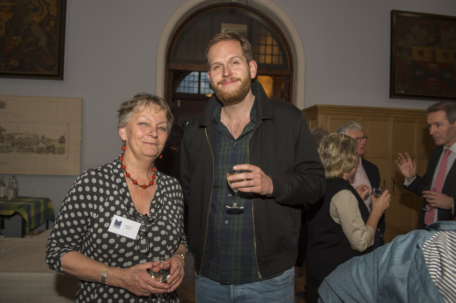 Genevieve Clarke of LitFest with author Daniel Shand